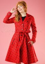 50s Glienicke Spy Swap Trenchcoat in Lovely Ladybug Red