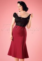 40s Personified Elegance Skirt in Red