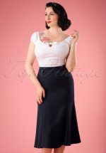 40s Personified Elegance Skirt in Navy
