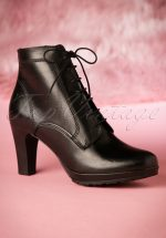 50s Donna Lace Up Leather Booties in Black