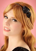 50s Alice Satin Hair Band with Roses in Black