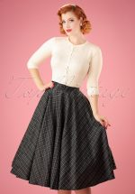 50s Bridget Tartan Flare Skirt in Grey