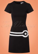 60s Circle A-Line Dress in Black and White