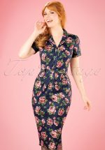 50s Caterina Bloom Floral Pencil Dress in Navy