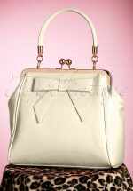 50s American Vintage Patent Bag in Cream