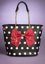 50s Mayfair Polkadot Bow Bag in Black