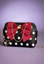 50s Mayfair Polkadot Crossbody Bag in Black