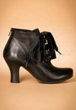 40s Kathy Lace Up Leather Booties in Black