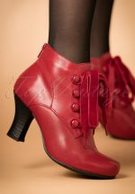 40s Kathy Lace Up Leather Booties in Red