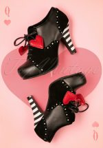 50s Angie Heart Lace Up Booties in Black