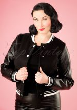 50s Britney Plain College Jacket in Black