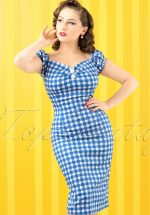 50s Dolores Painted Gingham Dress in Blue and White