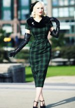 40s Rachel Tartan Pencil Dress in Green