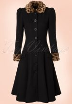 50s Gina Leopard Coat in Black