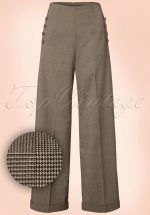 40s Style Crush Check Trousers in Brown