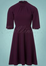 50s Jennifer Swing Dress in Aubergine