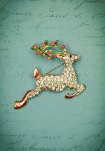50s Rudolph The Sparkly Reindeer Brooch in Rose Gold
