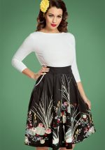 50s Daniella Swan Border Swing Skirt in Black
