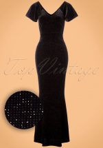 50s Sue Velvet Glitter Maxi Dress in Black