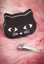 60s Black Cat Nail Buffer and Clippers