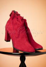 a21cc498310 60s Pixie Suede Ankle Booties in Deep Red