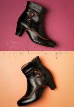 b1a7bd62845 60s Olga Leather Ankle Booties in Black and Brown
