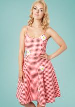 ca5f3f9e79bf2 50s Dolly Gingham Flared Dress in Red